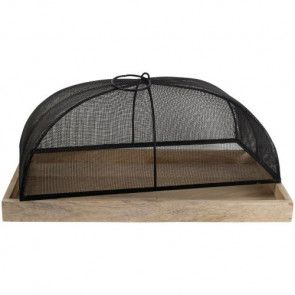 Wooden Tray and Domed Mesh Food Cover