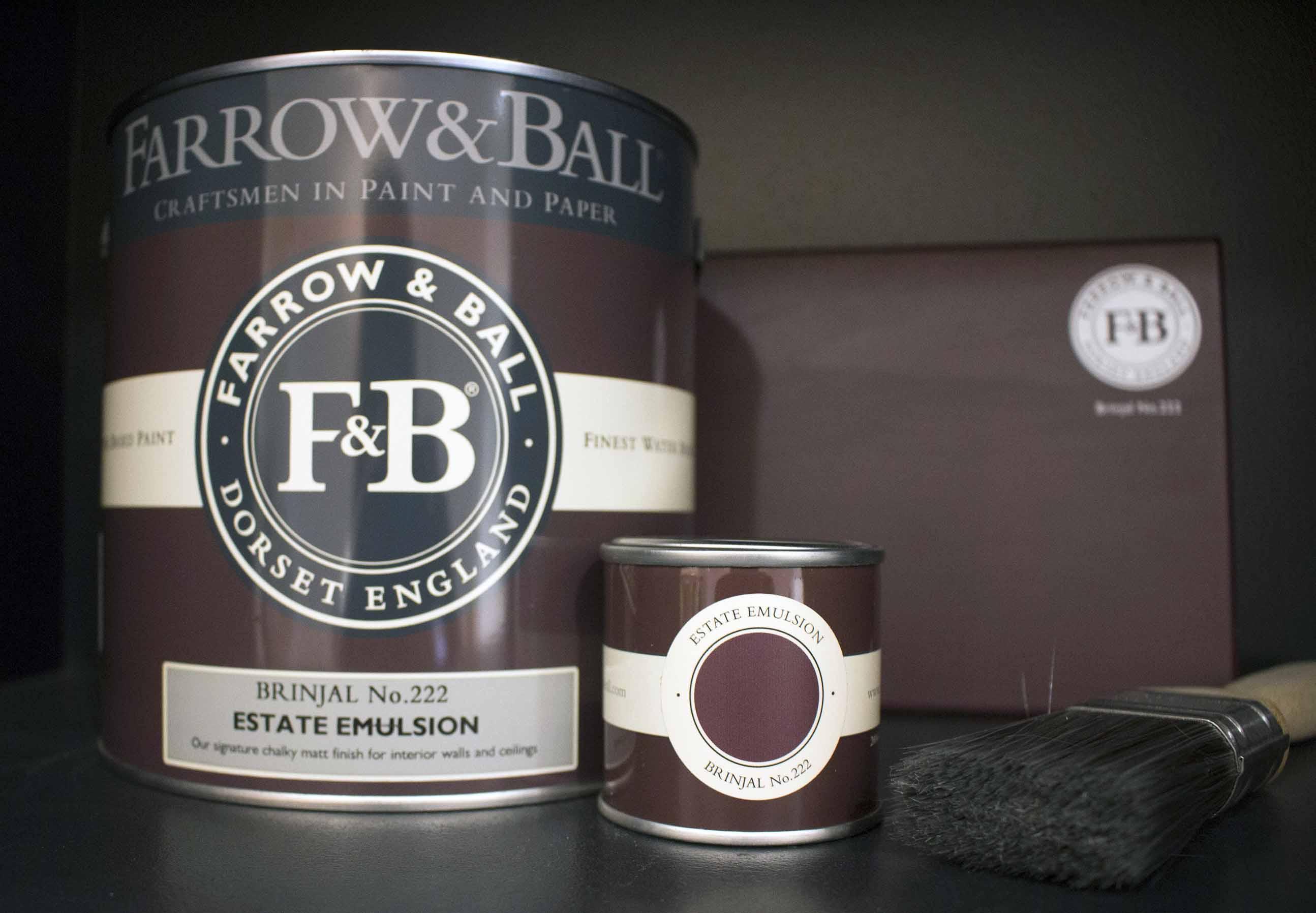 farrow&ball, farrow and ball, paint, decorating, paint brush, brinjal