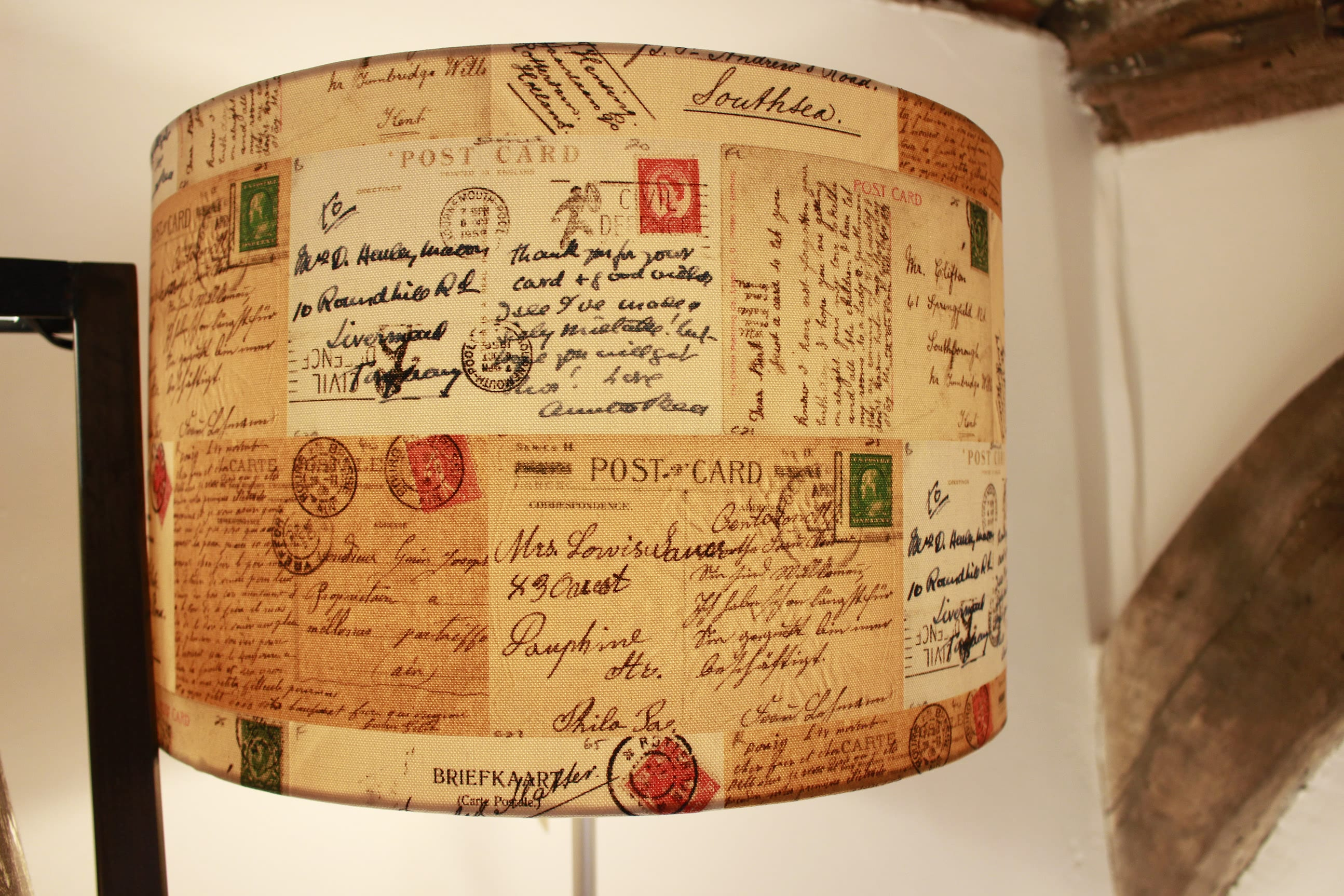 lamp shade, lamp stand, typography, postcard