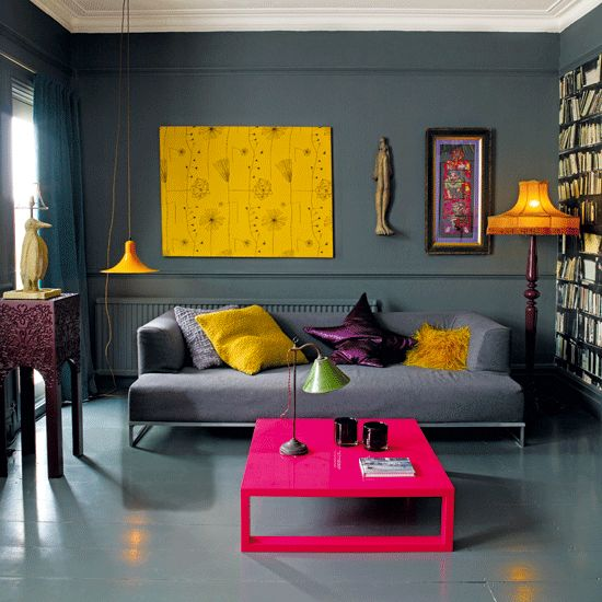Inspiration, colour pop, home interior, home design, living room, orange