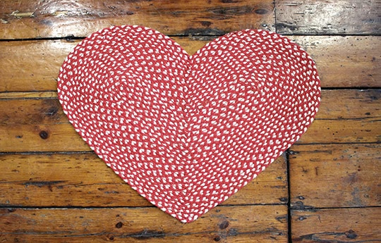 red and white heart rug