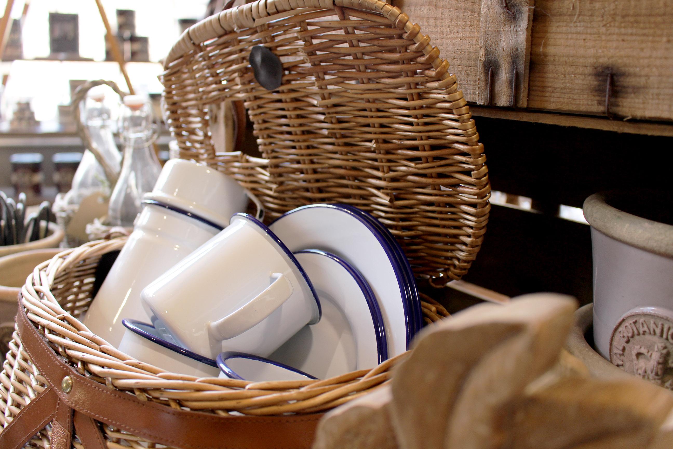enamel plates and crockery